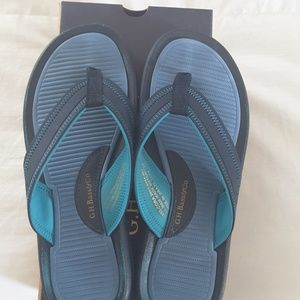 Bass sandals navy, powder blue and turquoise sz 8
